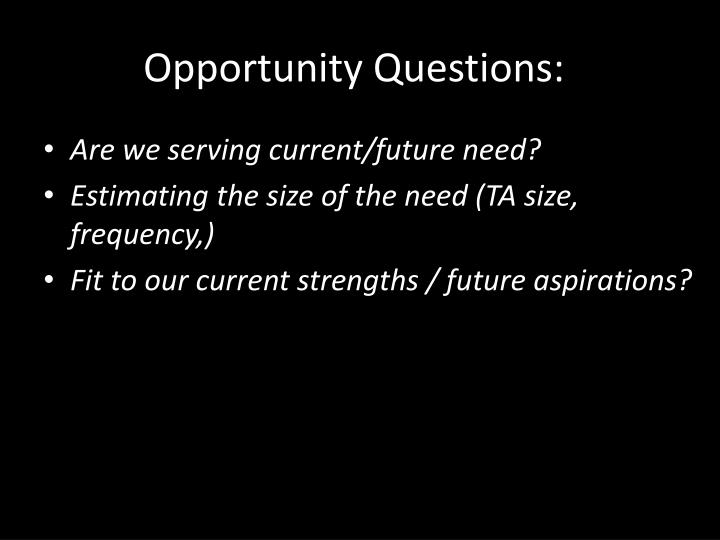 Opportunity Questions: