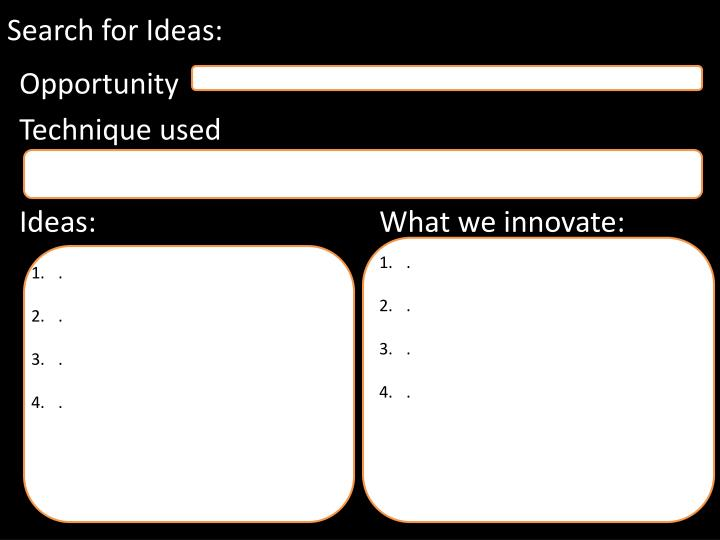Search for Ideas: