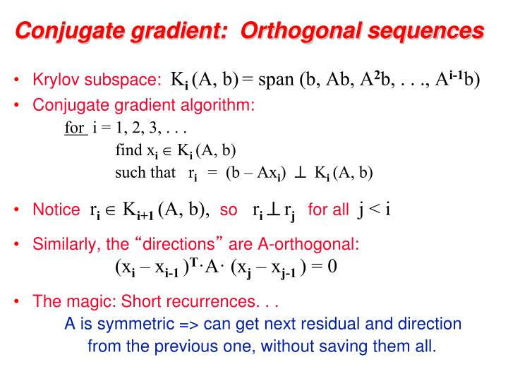 Conjugate gradient:  Orthogonal sequences