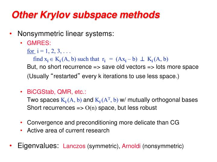 Other Krylov subspace methods