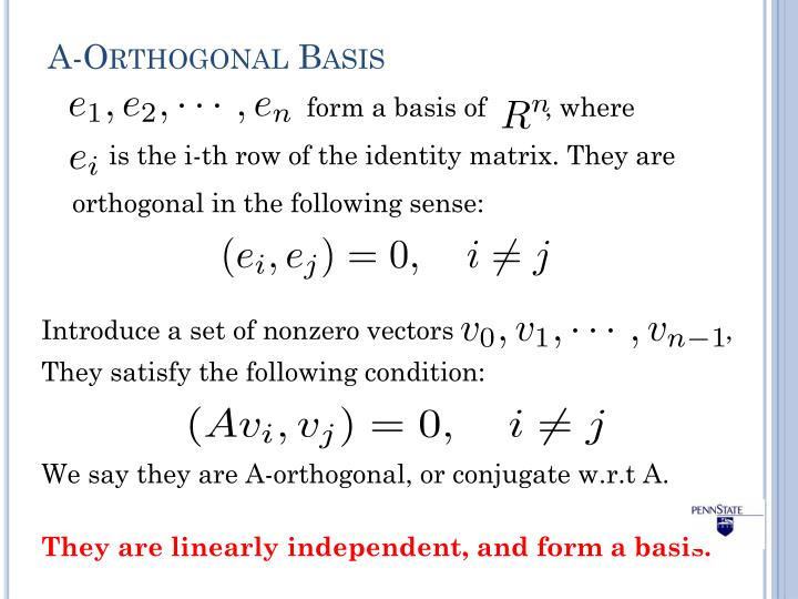 A-Orthogonal Basis