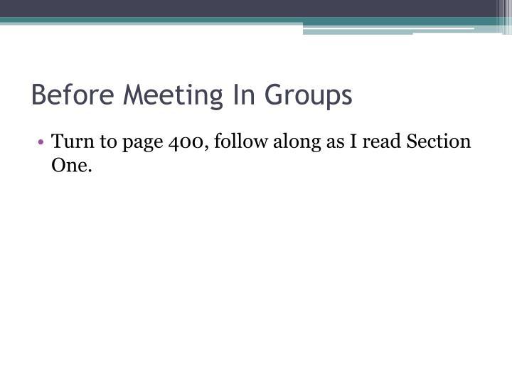 Before Meeting In Groups