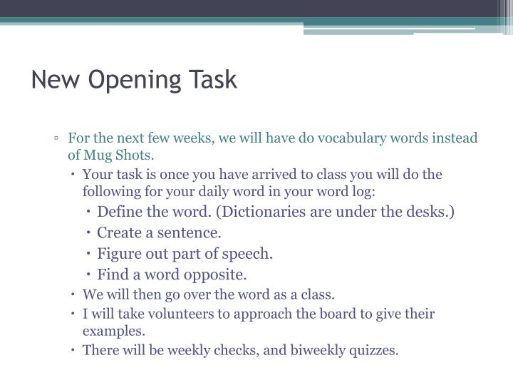 New Opening Task
