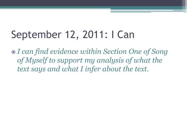 September 12, 2011: I Can