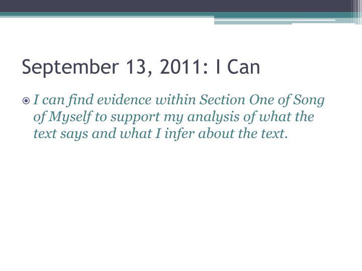 September 13, 2011: I Can
