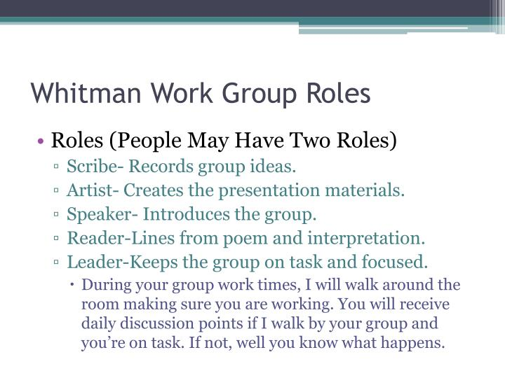 Whitman Work Group Roles