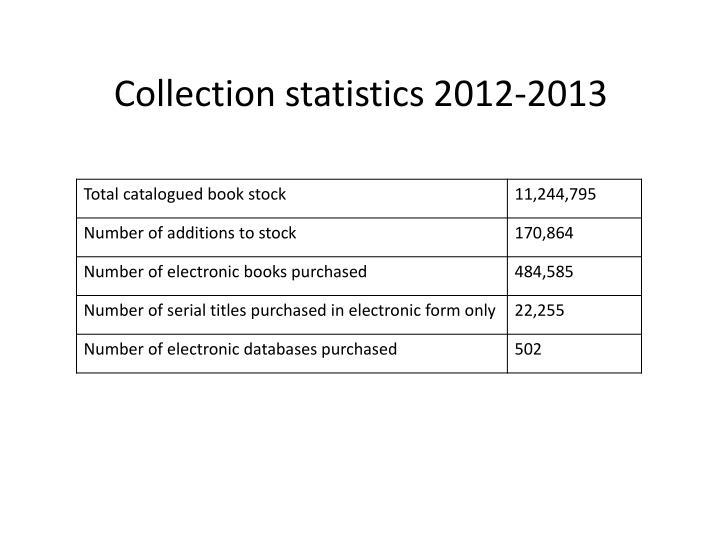 Collection statistics 2012-2013
