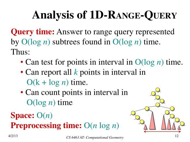 Analysis of 1D-R
