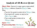 analysis of 1d r ange q uery