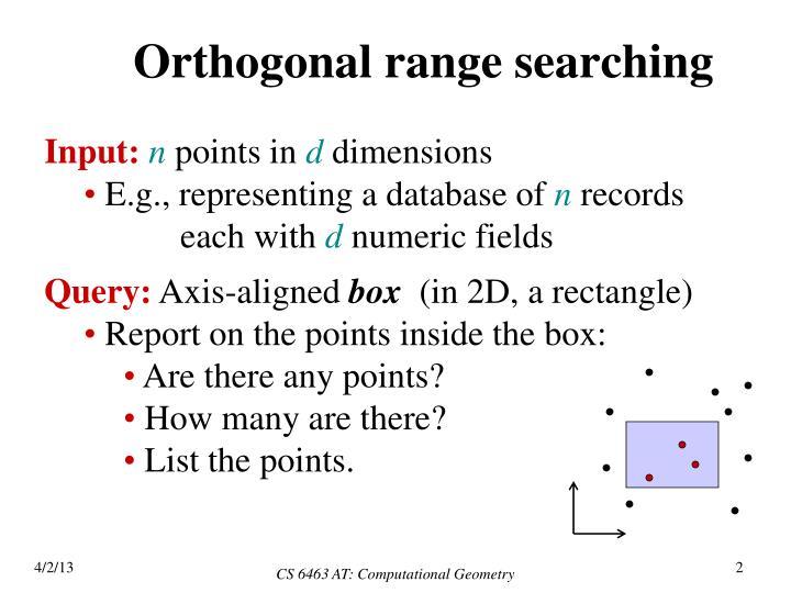 Orthogonal range searching