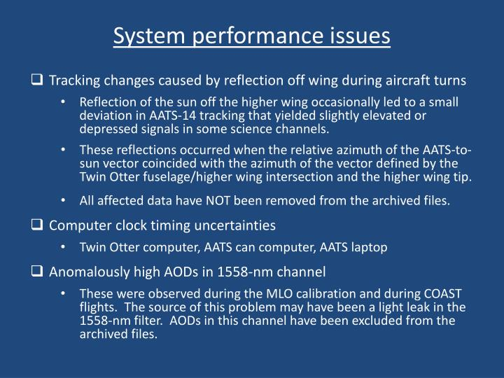 System performance issues