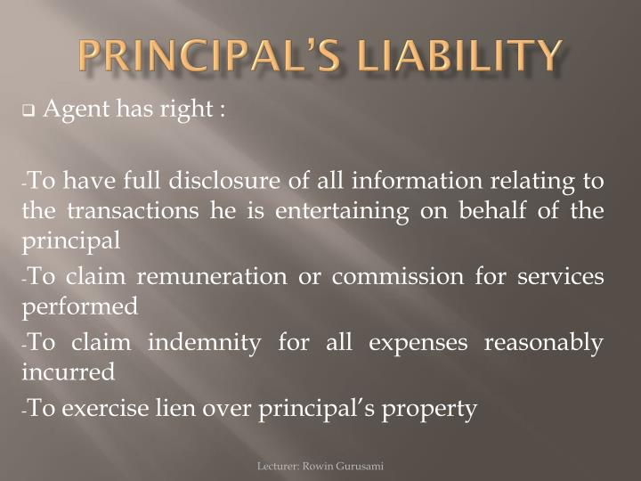 PRINCIPAL'S LIABILITY