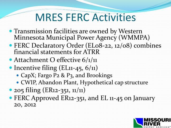 MRES FERC Activities