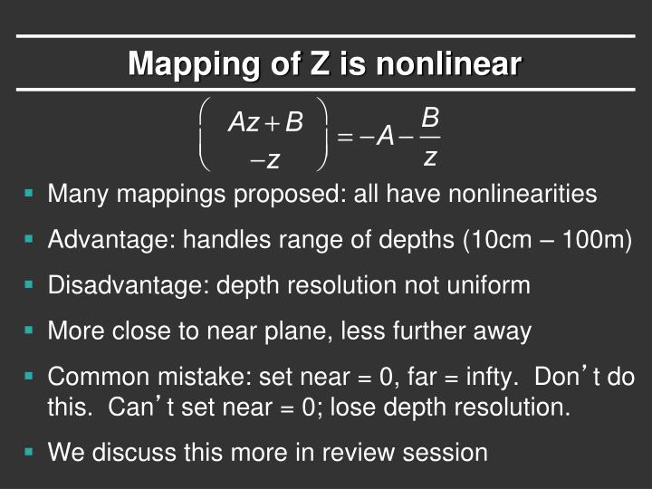 Mapping of Z is nonlinear