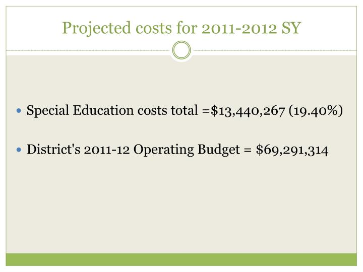 Projected costs for 2011-2012 SY