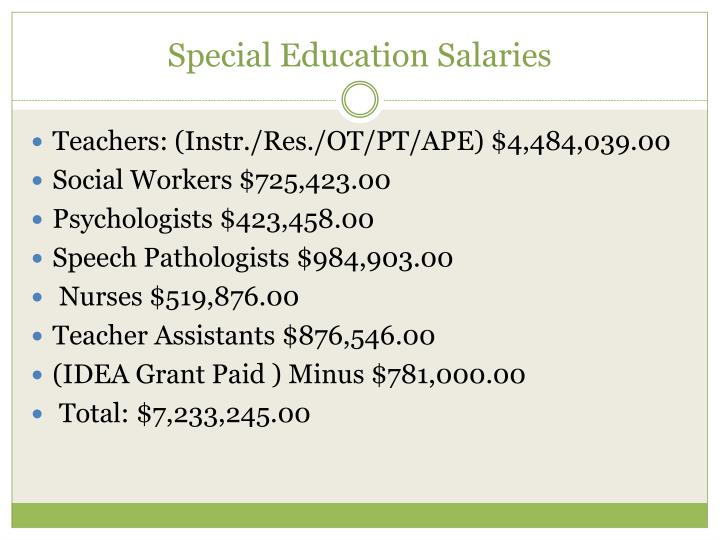 Special education salaries