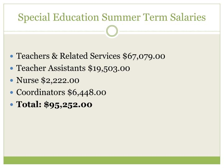 Special Education Summer Term Salaries