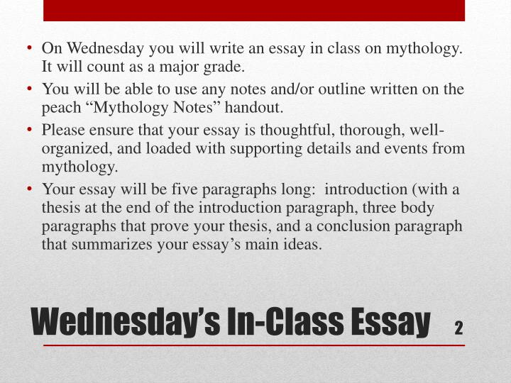 On Wednesday you will write an essay in class on mythology.  It will count as a major grade.