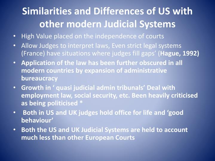 Similarities and differences of us with other modern judicial systems