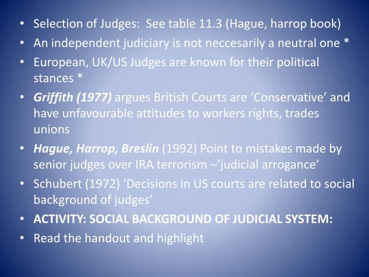 Selection of Judges:  See table 11.3 (Hague,