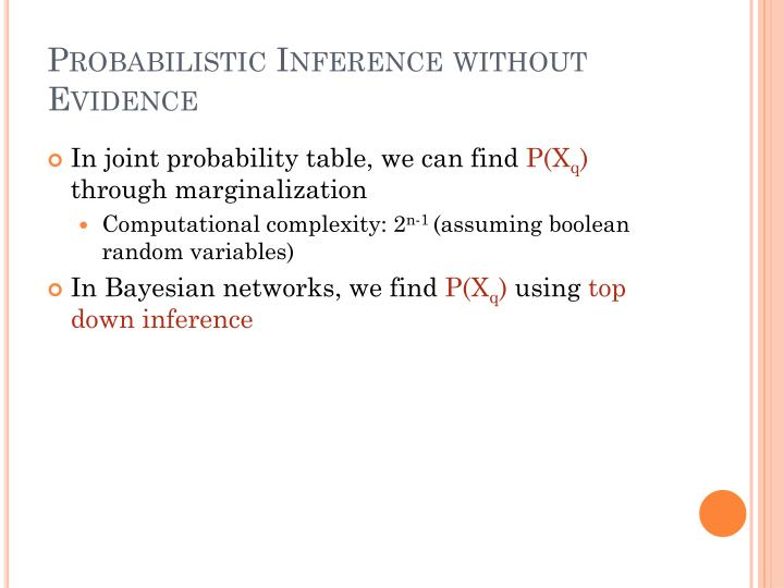 Probabilistic Inference without Evidence