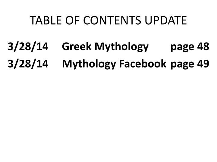 Table of contents update
