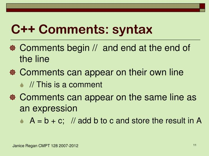 C++ Comments: syntax