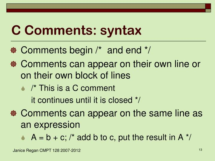 C Comments: syntax