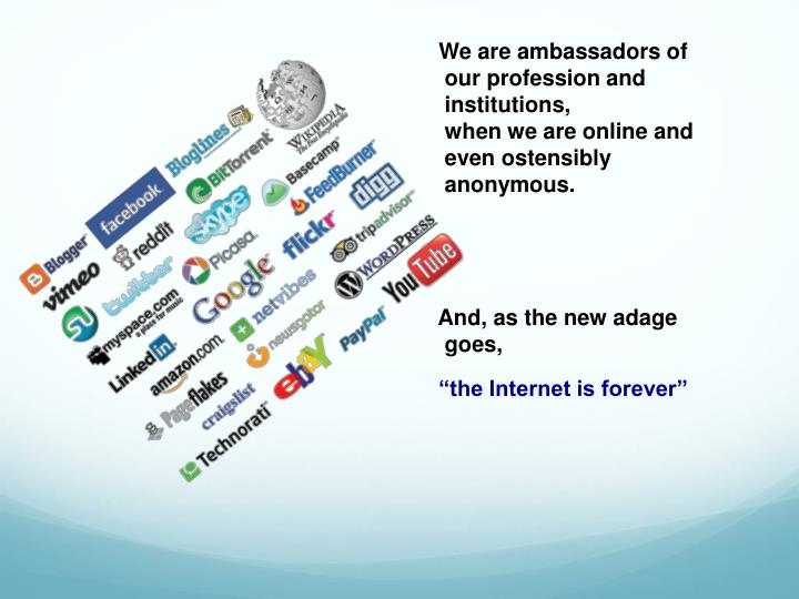 We are ambassadors of our profession and institutions,                 when we are online and evenostensibly anonymous.