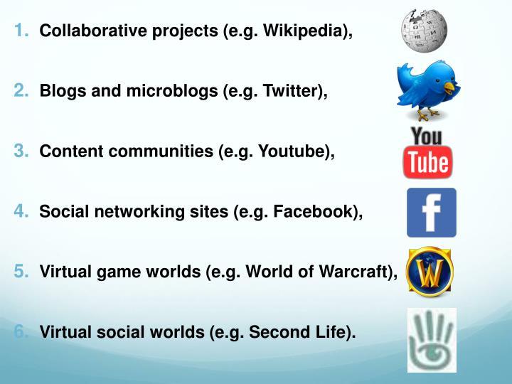 Collaborative projects (e.g. Wikipedia),