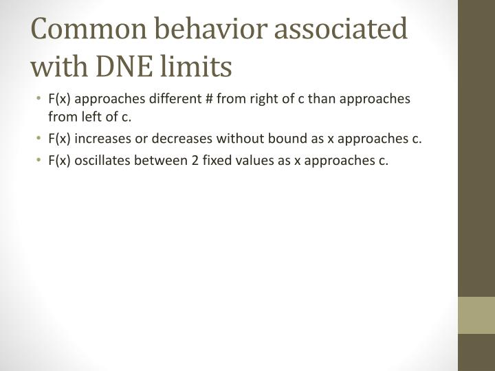 Common behavior associated with DNE limits