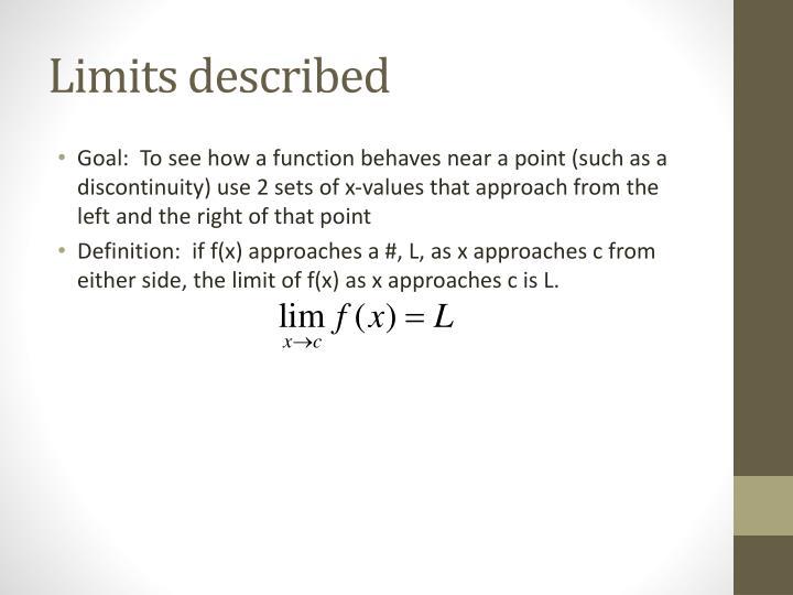 Limits described