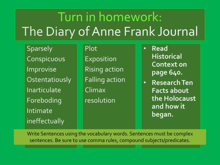 Turn in homework: