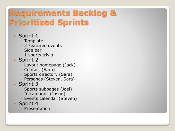 Requirements backlog prioritized sprints