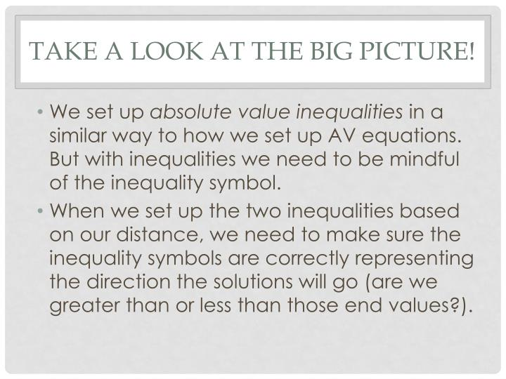 Take a look at the big picture!