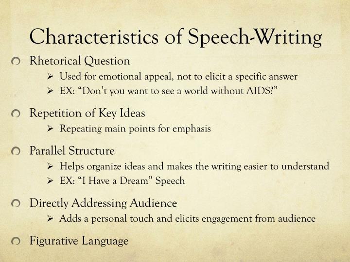 Characteristics of Speech-Writing