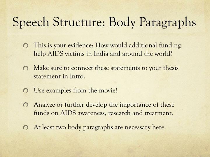 Speech Structure: Body Paragraphs