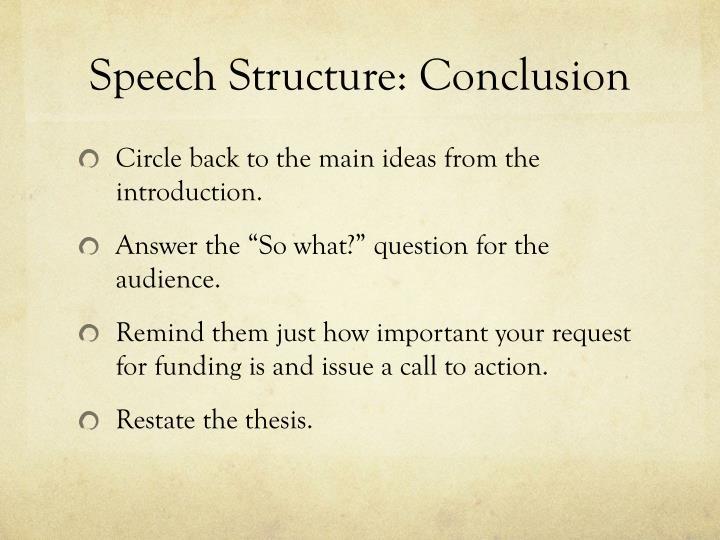 Speech Structure: Conclusion