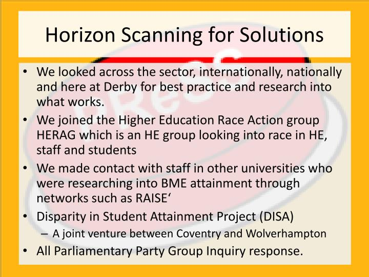 Horizon Scanning for Solutions