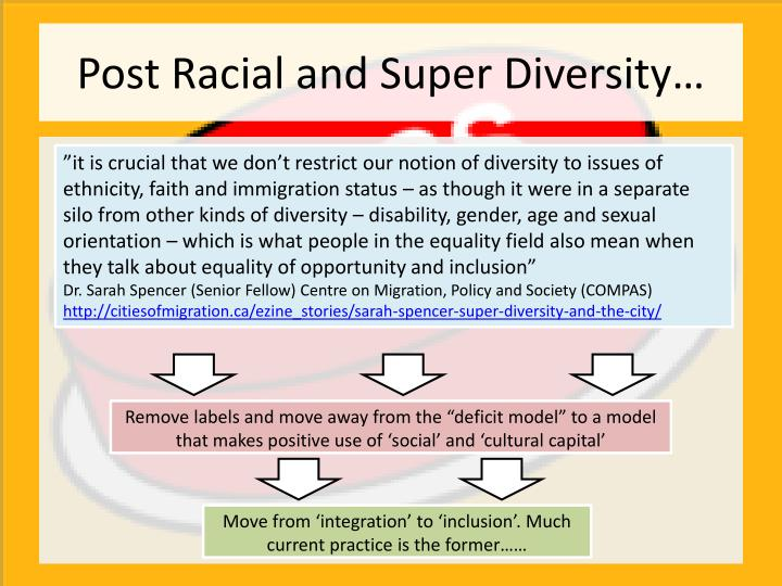 """""""it is crucial that we don't restrict our notion of diversity to issues of ethnicity, faith and immigration status – as though it were in a separate silo from other kinds of diversity – disability, gender, age and sexual orientation –which is what people in the equality field also mean when they talk about equality of opportunity and inclusion"""""""
