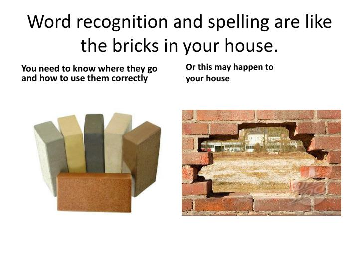 Word recognition and spelling are like the bricks in your house.