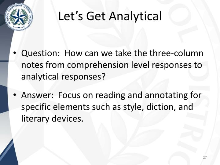 Let's Get Analytical