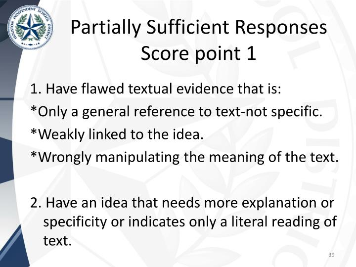 Partially Sufficient Responses