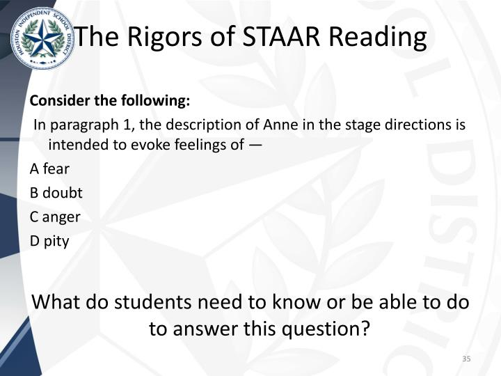 The Rigors of STAAR Reading