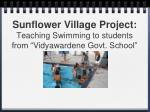 sunflower village project teaching swimming to students from vidyawardene govt school