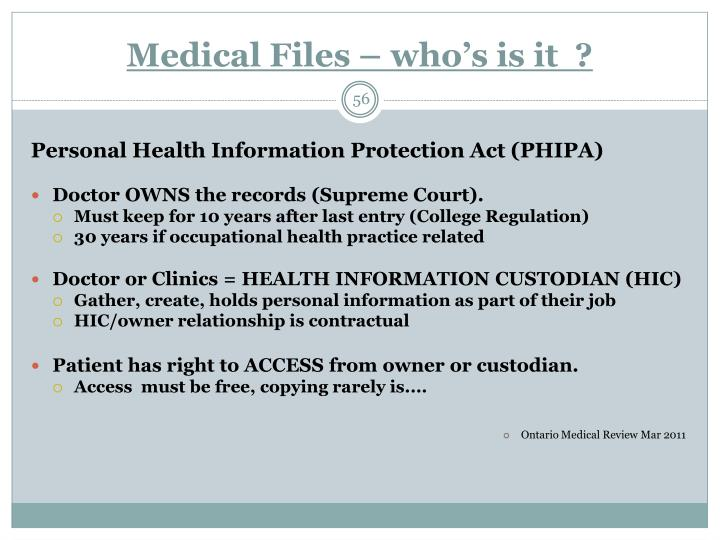 Medical Files – who's is it  ?