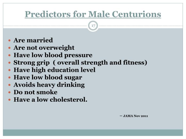 Predictors for Male Centurions