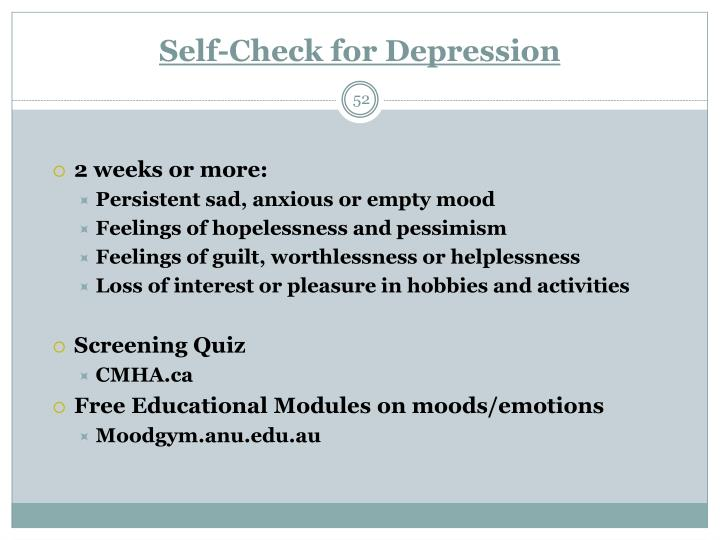 Self-Check for Depression