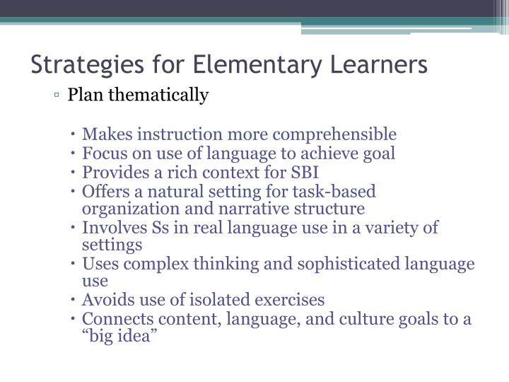 Strategies for Elementary Learners
