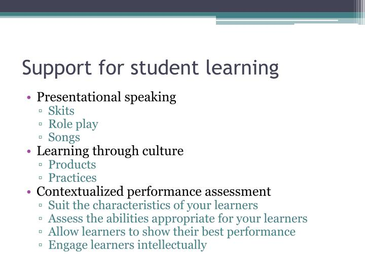 Support for student learning